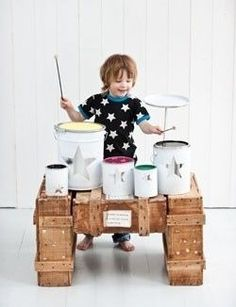 Make a drumset out of paint cans. | 39 Coolest Kids Toys You Can Make Yourself// august said he's going to ask santa for a kick drum.  been brainstorming how santa could make this happen on the cheap and adorably.  then, this!!  thanks for sharing, @Melissa Squires Carlisle. <3