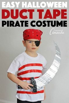 Use duct tape, street clothes and a little cardboard to create this super easy, perfect for last-minute pirate costume for Halloween or a pirate birthday! Diy Pirate Costume For Kids, Boy Halloween Costumes, Family Costumes, Boy Costumes, Easy Halloween, Halloween Party, Halloween Crafts, Family Halloween, Street Outfit