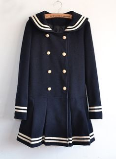 Sheinside.com - Navy Long Sleeve Sailor-Inspired Double Breasted Bow Ruffle Coat ($37.04 USD)