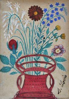 'Fleurs dans un panier/Flowers in a Basket' by Seraphine Louis Senlis France, Art Brut, Naive Art, French Artists, Natural World, Art Boards, Flower Art, Kids Rugs, Culture