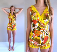 vtg 50s yellow HAWAIIAN floral print SWIMSUIT by TigerlilyFrocks, $169.00