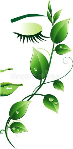 Illustration about Beautiful female face with green leaves. Illustration of beautiful, concept, herbal - 13215591 Pencil Art Drawings, Art Drawings Sketches, Easy Drawings, Art Illustrations, Illusion Kunst, Illusion Art, Flower Phone Wallpaper, Nature Wallpaper, Abstract Face Art