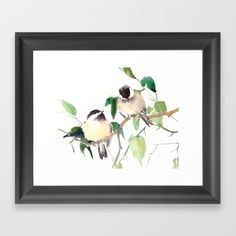Choose from a variety of frame styles, colors and sizes to complement your favorite Society6 gallery, or fine art print - made ready to hang. Fine-crafted from solid woods, premium shatterproof acrylic protects the face of the art print, while an acid free dust cover on the back provides a custom finish. All framed art prints include wall hanging hardware. #chickadeeart #birdart #wallart #birds #birdgift #wall #homedesign