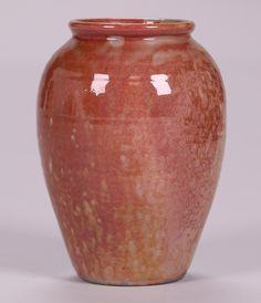 Pewabic Pottery red lustre iridescent glazed vase.  Glazed over signature – unsigned