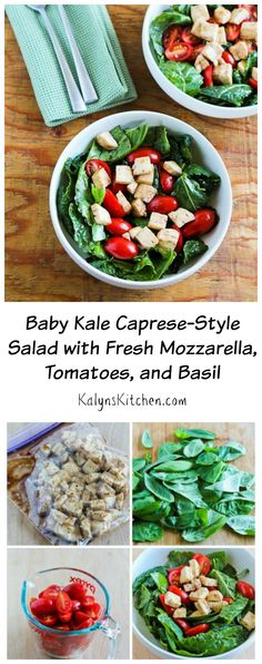 It doesn't get much easier than this Baby Kale Caprese Salad, and summer and fall garden produce will make this salad even better!  [from KalynsKitchen.com] #LowCarb #GlutenFree #SouthBeachDiet