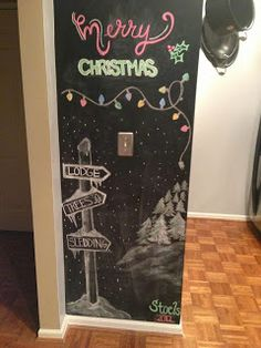 Christmas Chalkboard, you could also use black paper, if you don't want to paint your walls.