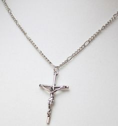 Crucifix Necklace Silver Colored Crucifix by EmbellishByAndrea, $15.00