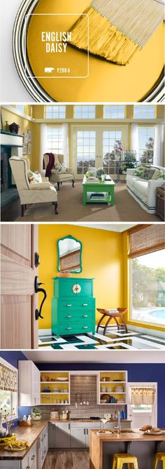 Looking for an easy way to capture the excitement of summer in the interior design of your home? Check out BEHR's Color of the Month: English Daisy. This bright yellow hue is perfect for adding a splash of bold color to your house when paired with rich blues, deep blacks, or vibrant turquoise greens. Click here to learn more.