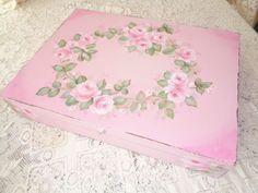 ROMANTIC KEEPSAKE JEWELRY BOX hp roses chic shabby vintage cottage hand painted #HINGED #SHABBYCHIC