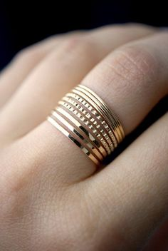 Medium Thickness Lined Set of 9 in Gold-Fill gold stack ring gold ring set gold fill set delicate gold ring bark ring set of 9 by hannahnaomi Jewelry Sets, Gold Jewelry, Jewelry Rings, Diamond Bracelets, Jewelry Holder, Jewellery Box, Emerald Earrings, Crystal Earrings, Ring Set