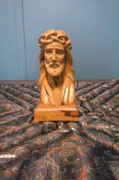 Small Wooden Bust of Jesus Carved in Bethlehem