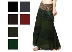 LONG SKIRT WITH CROCHET STASH POCKET psy trance boho hippy festival in Clothes, Shoes & Accessories | eBay
