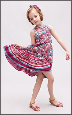 Wlmonsoon Princess Babies Girls Floral Embroider Stripes Boho Ruffles Party Dresses Western Fashion Sleeveless Cotton Casual Dresses Online with $21.1/Piece on Smartmart's Store | DHgate.com
