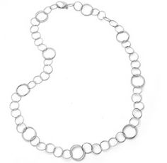 .925 Sterling Silver Modern Circle Long Chain Necklace 20in