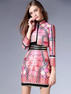 2-Piece Pink Qipao / Cheongsam Dress with Matching Jacket