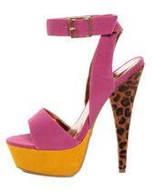 Promise Carlton Fuchsia Color Block Leopard Print Platform Heels