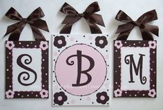 cute canvas monogram wall art