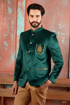 4cd6b49e3fb Buy green colour designer Jodhpuri suits online Indian Wedding Wear, Green  Velvet, Green Jacket
