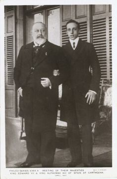 King Edward VII of Great Britain and King Alfonso XIII of Spain. Alfonso was King from birth, since his father died before he was born. Edward became King at age 59.