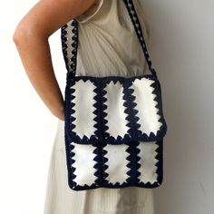 Vintage 1970s Faux Leather and Wool-Crochet bag $30