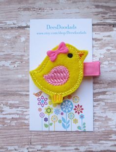 Little Yellow Chick Felt Clippie - Clippie - Party Favor - Hair Clip - Feltie Clip