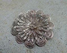 Vintage 833 Silver Lace Filigree Flower by GlitterFoundJewelry