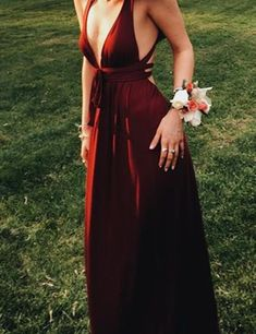 Sexy Burgundy Deep V-Neck Sleeveless Floor-Length Backless Prom Dress