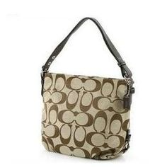 Authentic Coach Signature 24CM Zip Duffle Hobo Bag 15067 Khaki/Mahogany