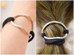 Curved german silver hair cuff with elastic cord, german silver bracelet, ponytail holder, hair accessory, bun pin,hair holder, hair jewelry by TheLittleLab on Etsy