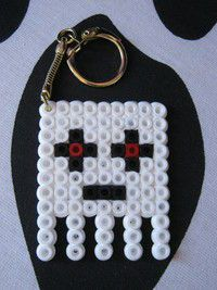 Minecraft Ghast Key Ring Hama Beads by Super Madc