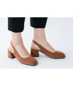 694800a5fe3 AnnaKastle Womens Vegan Suede Square Toe Slingback Pumps Brown