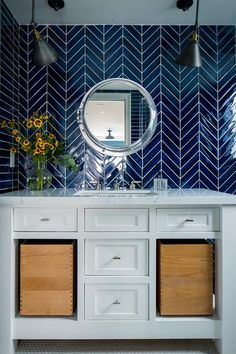 Cobalt Blue Chevron Wall Tiles with Porthole Mirror