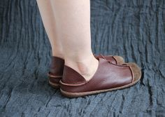 Brown Handmade ShoesOxford Women Shoes Flat Shoes Retro by HerHis