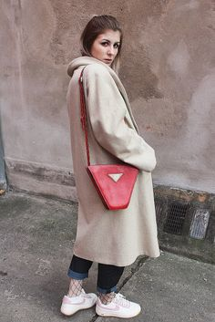 ohwyouknow: MBFW Berlin, Nude, Tan Coat, Bally, Red Bag, Fishnet Thights, Nike Airforce 1 Seersucker Pack, Jeans, Streetwear, Streetstyle, OOTD; Fashion Blogger, Winter Outfit