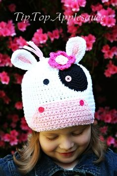 Amigurumi Animal Cow crochet Silly hat Custom made any size   #crochet #pattern #knitting