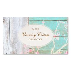 Aged bleached wood planks in turquoise and white with pink flower bleached in overlay. A cute stylish card for nature or beach lovers, country gift shops, country music singers, gardeners or anyone who works with recycled materials. #girlybusinesscards