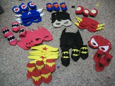 Felt superhero capes and masks for party favors