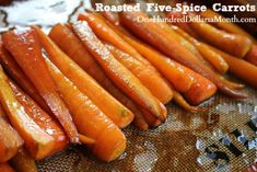 Roasted Five-Spice Carrots, snacks and sides, soy sauce, brown sugar, healthy sides