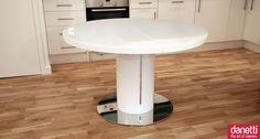 white gloss round table