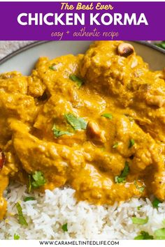 How to make the best Indian chicken korma recipe! This easy recipe has detailed tips, instructions and a video recipe to teach you how to make authentic shahi chicken korma curry at home. #instapot #chicken #curry #indian #korma #shahi #authentic #keto #chickenkorma #chickencurry #indianrecipe Healthy Indian Recipes, Indian Chicken Recipes, North Indian Recipes, Yummy Chicken Recipes, Asian Recipes, Delicious Recipes, Amazing Recipes, Chicken Korma Recipe, Chicken Curry