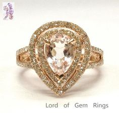 Pear Morganite Engagement Ring Pave Diamond Wedding 14K Rose Gold 6x8mm Double Halo Split Shank - Lord of Gem Rings - 1