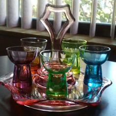 20% COUPON!  5 Depression Shot or Liquer glasses on Pink-Handled Depression Glass Tray. Very Nice Vintage Condition.