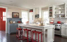 Amazing Kitchen Love The Red And Blue Touches Wood Wall Trehus Builders