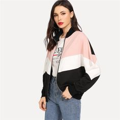 c031f1d7f1 Multicolor Preppy Minimalist Drop Shoulder Cut And Sew Colorblock Casual  Jacket Autumn Elegant Women Coat Outerwear