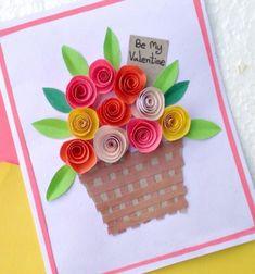 DIY Rolled paper roses - easy Mother's day card // Egyszerű Anyák napi képeslap térbeli papír virágokkal // Mindy - craft tutorial collection // #crafts #DIY #craftTutorial #tutorial