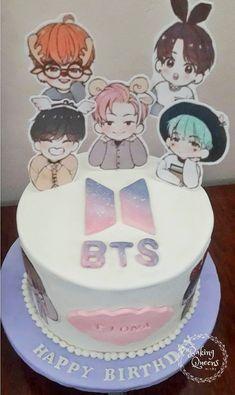 Bts Happy Birthday, 10th Birthday Parties, Bithday Cake, 16 Birthday Cake, Bts Cake, Korean Cake, Cake Decorating Piping, Cute Food Art, Bts Birthdays