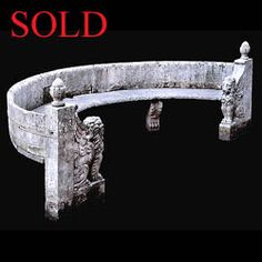 Antique curved carved stone garden bench seat.