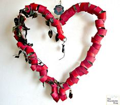 Valentine's Heart made with wire and paper rolls and embellished wih vine leaves, The Big, Bold Heart - The Boondocks blog