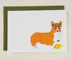 Blank Card  English Corgi Drinking Tea by SodaPopPrints on Etsy, $3.50