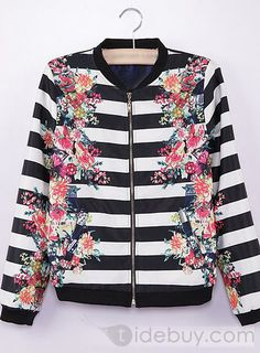 Romantic Euramerican Style Print White and Black Striped Jacket : Tidebuy.com
